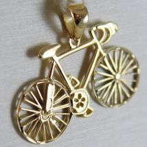 SOLID 18K WHITE & YELLOW RACING BICYCLE BIKE CYCLING SATIN PENDANT MADE IN ITALY image 3