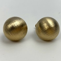 Vintage Brushed Textured Round Chunky Gold Tone Clip On Earrings Adjustable - $11.84