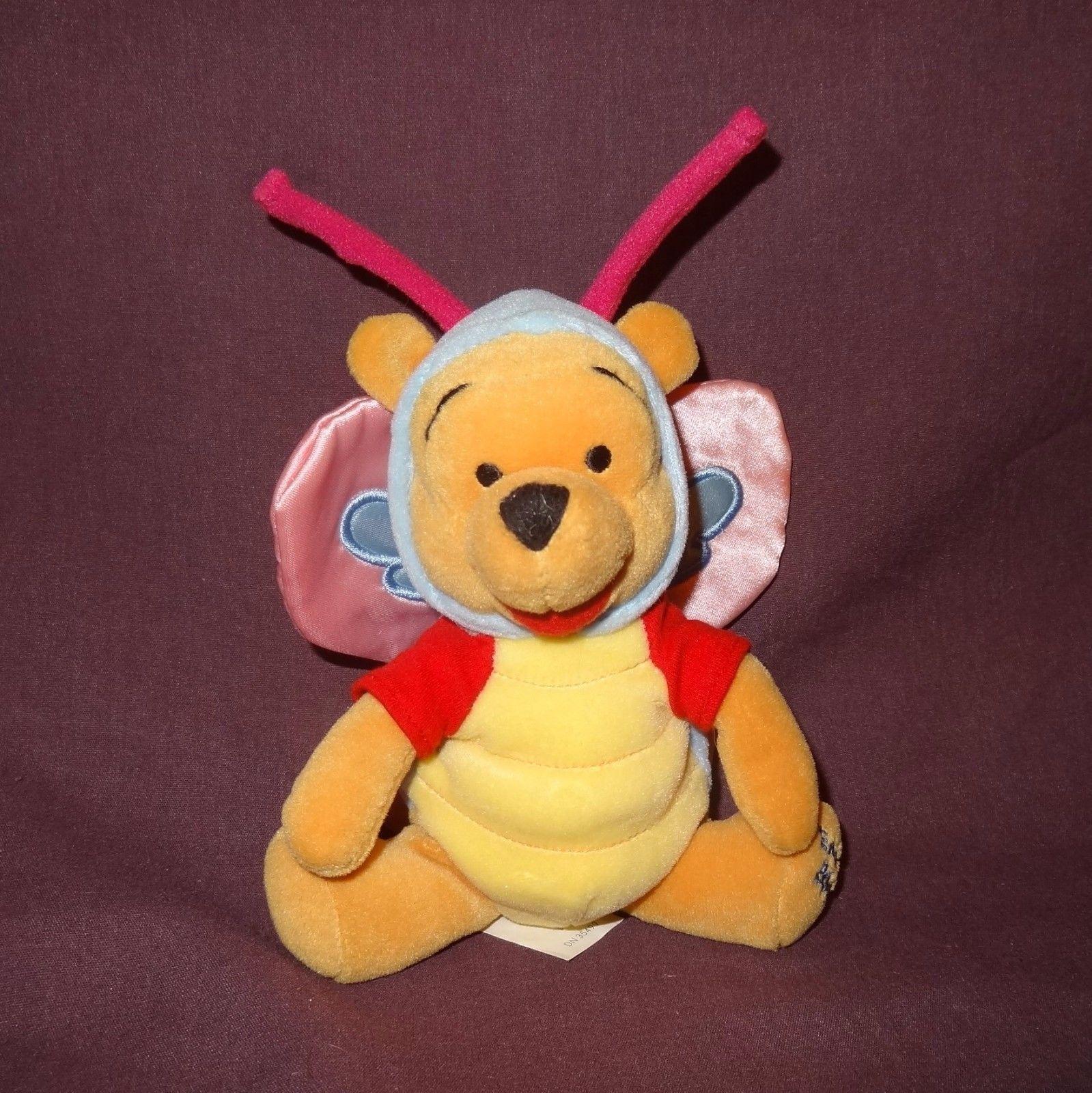 "Butterfly Winnie Pooh Easter 2000 Disney 8"" Plush Stuffed Animal Bear Beanbag"