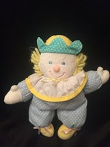VTG Eden Blue Polka Dot Clown Yellow Green Pastel Plush Rattle Lovey - $69.29