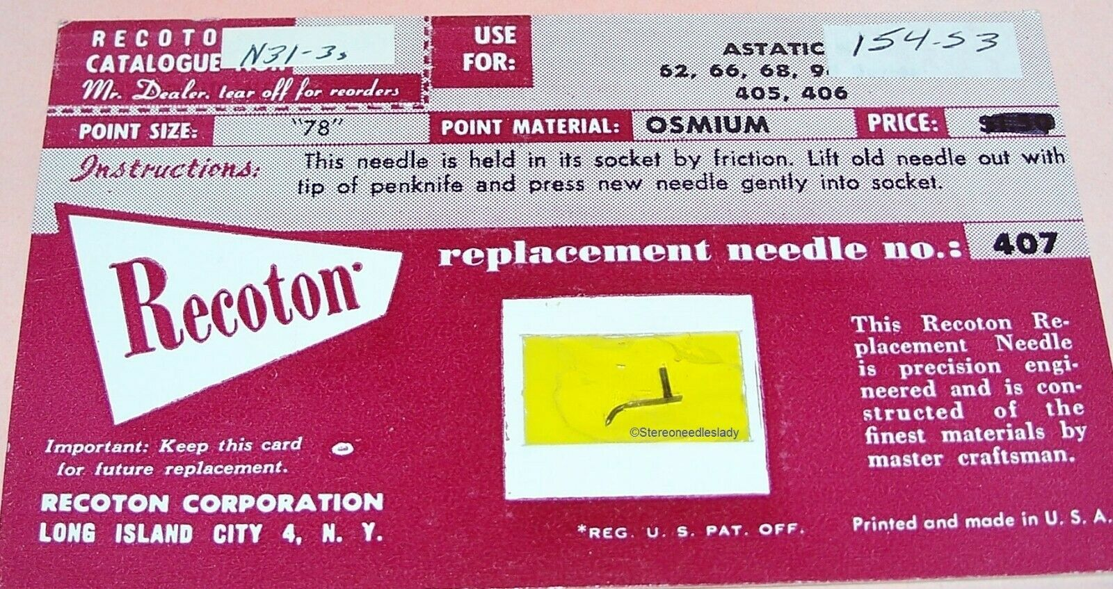 RECORD PLAYER NEEDLE Recoton 444 154-S3 for Astatic N31-1D J K M X A67 N31-3s