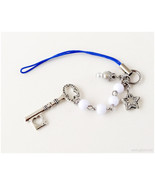 Key to the Stars Phone Charm, Beaded Phone Strap, Silver, White, Blue - $10.00