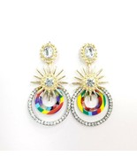 E0312 Multi Tone Acrylic Clear Rhinestones Circle Sun Drop Dangle Post E... - $9.99