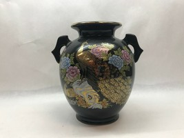 Vintage ASIAN Black Pot VASE JAPAN Hand Painted PEACOCK Flowers - $27.71