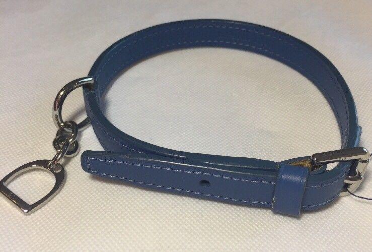 Ralph Lauren blau Leder Hundehalsband Lila Label Einheitsgröße