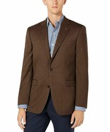 Tommy Hilfiger Mens Blazer Brown Size 40 Long Stretch Two Button Wool - $59.95