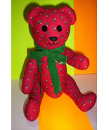 Vintage Red Christmas Fabric Teddy Bear might be stuffed with straw and... - $15.99