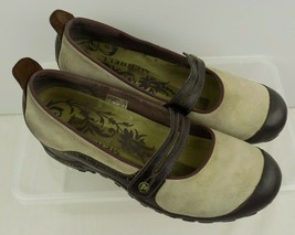 Merrell Plaza Bandeau Dark Taupe Shoes Womens 9.5 Suede Slip On Mary Janes Flats - $34.64