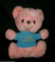 "9"" VINTAGE PINK BLUE TEDDY BEAR SIX FLAGS GREAT AMERICA STUFFED ANIMAL P... - $23.01"