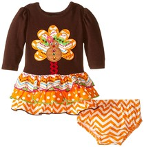 Bonnie Jean Baby Girls 3M-9M Brown/Orange Turkey L/S Tier Dress
