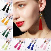 Women Bohemian Long Tassel Fringe Boho Ear Stud Dangle Earrings Jewelry ... - $3.00