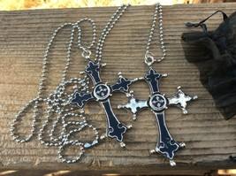 Black Cross Duo Silver Metal Necklace Set - $21.00