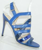 Ivanka Trump 'Haslets' blue leather snake print caged buckle sandal heels 8M - $37.04