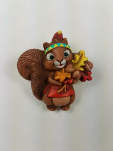 Primary image for 1987 Hallmark Thanksgiving Holiday Pin Native Female Squirrel w/ Headband Leaves