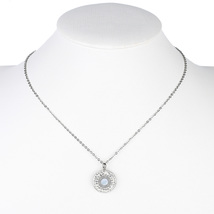 UE-Silver Tone Designer Necklace With Circle Pendant & Swarovski Style C... - $22.99