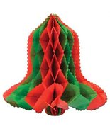 Club Pack of 24 Red and Green Honeycomb Tissue Christmas Bell Hanging De... - $65.33