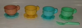 Mattel 2000 Teacups 4 Cups 4 Saucers 1 Fork Lot Toy Dishes Replacements - $17.77