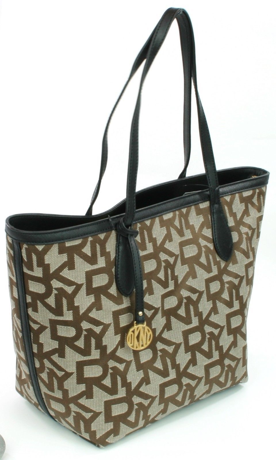 DKNY Donna Karan Heritage Brown Logo Embossed Canvas Shopper Tote Bag Medium