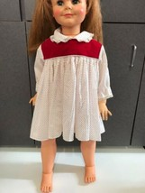 "vintage 35"" patty play pal size doll dress Red Velvet white red poke a dot - $22.72"