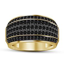 Round Black Sim Diamond Yellow Gold Plated 925 Silver Men's Wedding Band... - $86.99