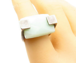 925 Sterling Silver - Vintage Faceted Jade Square Cocktail Ring Sz 7 - R... - $43.48