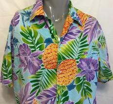 Vtg Hilo Hattie Pineapples Monstera Hawaiian Shirt Size Medium Aloha Hib... - $46.27