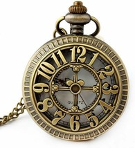 Retro Antique Bronze Skull Shaped Pocket Watch with 31 Inches Full Round... - $19.99