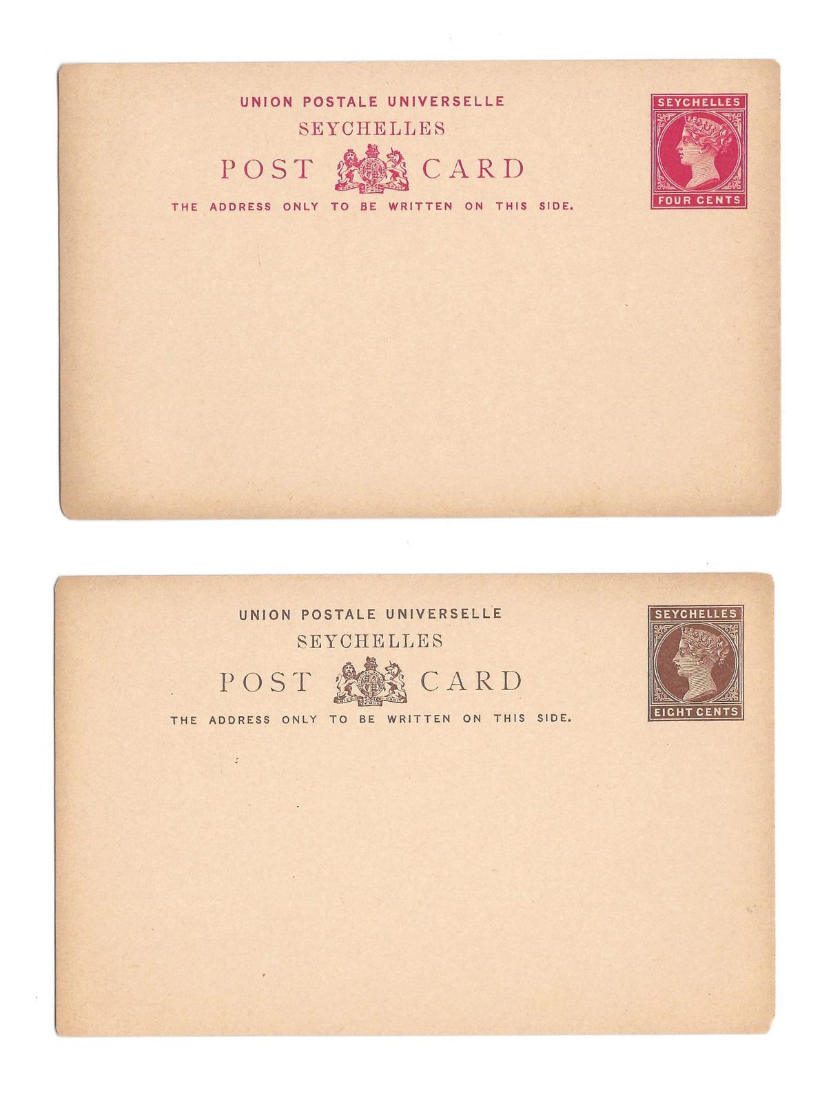 British Seychelles 1890 QV 4c and 8c 2 UPU Postal Stationery Card