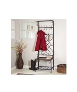 Brown Metal Hall Tree Wooden Bench Coat Rack Entryway Storage Hooks Hang... - $237.50