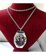 Vintage Modernist Moller P. Silver Amethyst Brutalist Necklace Denmark 70s - $65.00
