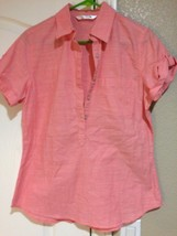 Riders By Lee Womens Pullover TOP--SIZE S--PINK--5 BUTTON-----FREE SHIP--VGC - $16.09