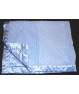 Carters Just One Year Baby Blanket Blue Minky Dot Bumps Satin - $24.73