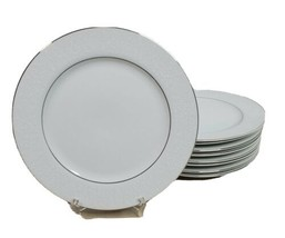 Crown Victoria Lovelace China Dinner Plates Set of 9 Made in Japan White... - $78.39
