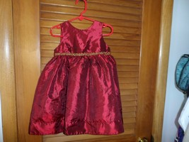 Toddler Girls size 24M dark red with gold sparkle accents fancy holiday ... - $10.00