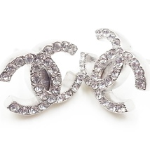 Authentic Chanel CC Logo Crystal Strass Silver Stud Earrings  image 2