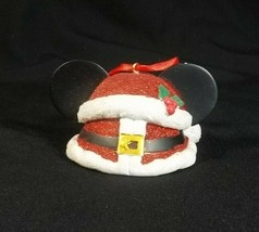Disney Parks Mickey Mouse Christmas Ornament Santa Hat Glitter Sparkle - $15.60