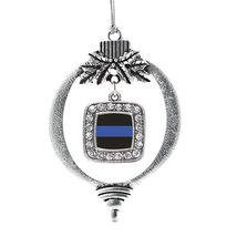 Inspired Silver Blue Line Law Enforcement Support Classic Holiday Decoration Chr - $14.69