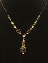 2028 1928 Jewelry Brand Copper Faceted Acrylic Rhinestone Dangle Necklace Tan - $14.85