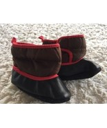 Old Navy Boys Brown Black Fleece Lined Baby Booties Boots Velcro 0-6 Months - $5.48