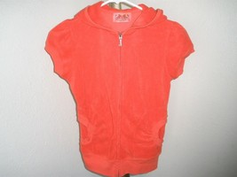 Junior's Petite Juicy Couture Coral Capped Sleeve Full Zip Terry Hoodie ... - $16.58