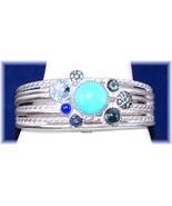Judith Ripka 5.90ct. Multi-Gems Cluster Cuff Bracelet Silver Large QVC $... - $344.00