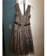 BCBG MAXAZRIA Brown Gold Floral Lace Lined Formal Cocktail Party Dress SZ 4 - $46.50