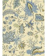 2 Yds Fabricut French General Josephine Aqua Blue Floral Leaf Vine Linen Fabric - $78.99