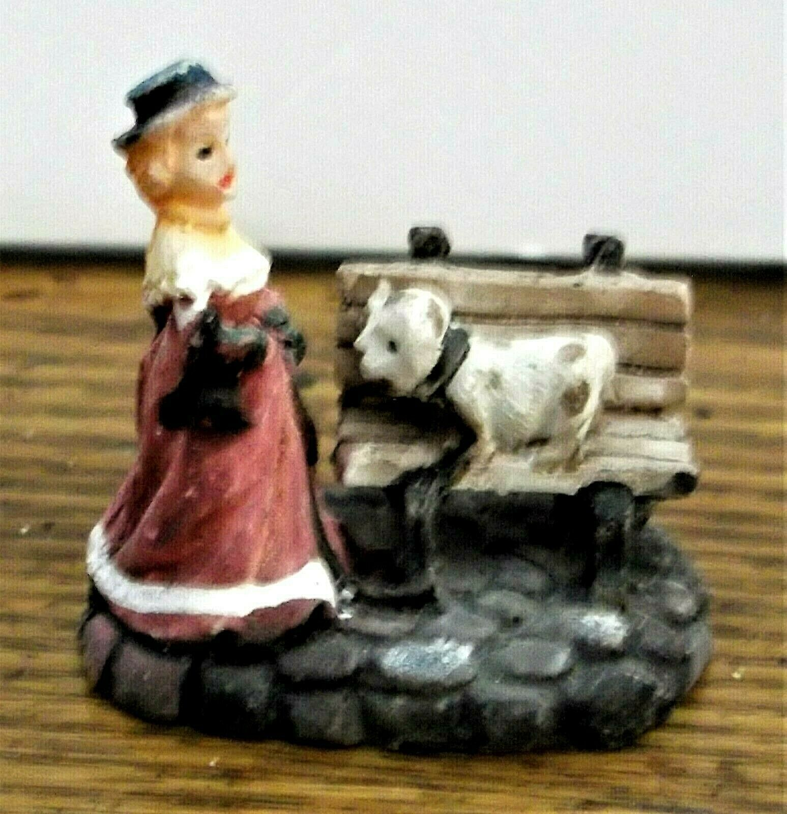 Primary image for Christmas Village Accessory Victorian Lady with a Dog Very Good Cond Resin