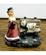 Christmas Village Accessory Victorian Lady with a Dog Very Good Cond Res... - $6.92
