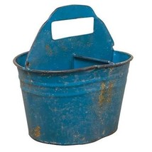 Blue Divided Pail rustic metal bucket storage flowers organization Spring - $39.59