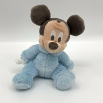 Disney Plush Mickey Mouse Baby Rattle Light Blue Disneyland Resort Stuff... - $11.53