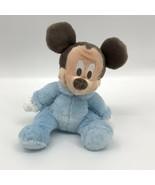 Disney Plush Mickey Mouse Baby Rattle Light Blue Disneyland Resort Stuff... - $11.53