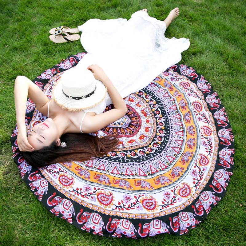 Indian-Round-Mandala-Pattern-Tapestry-Wall-Hanging-Beach-Towel-150cm-Summer-Bath for sale  USA