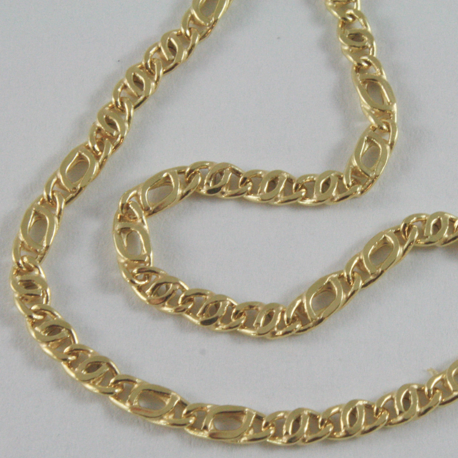 18K YELLOW GOLD CHAIN, ALTERNATE FLAT EYE LINK, NECKLACE MADE IN ITALY, BRIGHT
